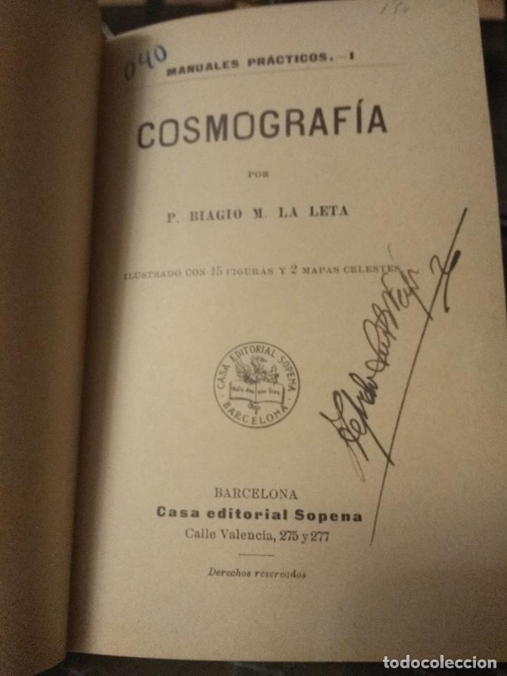Libros antiguos: Biagio, P. y M. La Leta. Cosmografía. Ca 1900. Astronomía - Foto 2 - 159593050