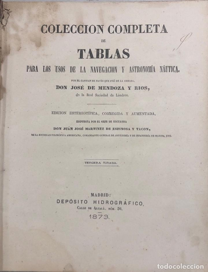 COLECCION COMPLETA DE TABLAS DE NAVEGACION DE MENDOZA. MADRID, 1973. PAGS 548. (Libros Antiguos, Raros y Curiosos - Ciencias, Manuales y Oficios - Astronomía)