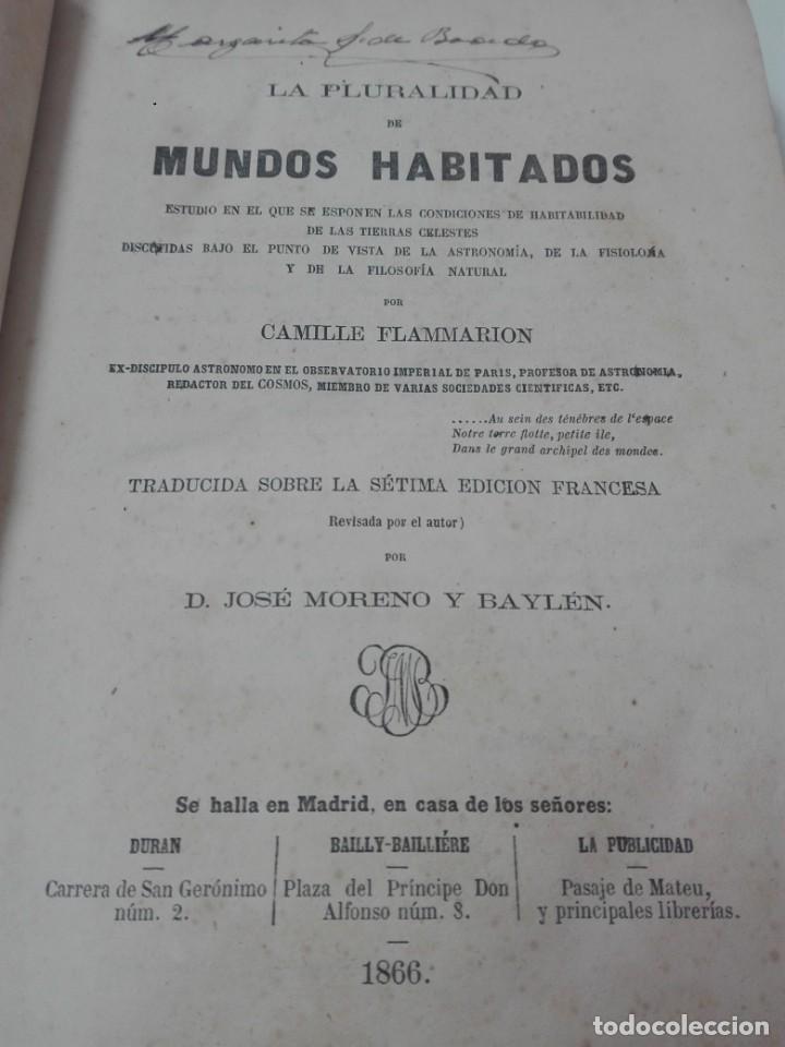 Libros antiguos: LA PLURALIDAD DE MUNDOS HABITADOS FLAMMARION ILUSTRADO PRIMERA EDICION 1866 - Foto 3 - 163987182
