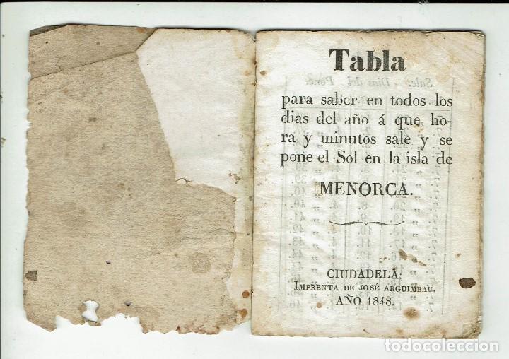 TABLA PARA SABER EN TODOS LOS DÍAS DEL AÑO A QUE HORA Y MINUTOS SALE Y SE PONE.... 1848(MENORCA.15.7 (Libros Antiguos, Raros y Curiosos - Ciencias, Manuales y Oficios - Astronomía)