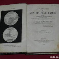 Libros antiguos: (MF) CAMILO FLAMMARION - LA PLURALIDAD DE MUNDOS HABITADOS, MADRID IMP. GASPAR 1877, ASTRONOMIA. Lote 172155384