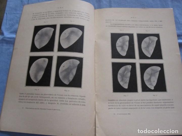 Libros antiguos: LIBRO NUEVAS OBSERVACIONES DE VENUS. AÑO 1898. EDUARD FONTSERÉ. IMPRENTA L'AVENÇ - Foto 2 - 178095293