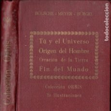 Libros antiguos: BOLSCHE - MEYER - BURGEL : UNIVERSO, ORIGEN DEL HOMBRE, CREACIÓN DE LA TIERRA, FIN DEL MUNDO (1930). Lote 182055406