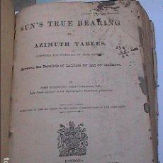 Libros antiguos: TABLAS REALES DE RUMBO O AZIMUT DEL SOL CALCULADAS PARA INTERVALOS DE 4 MINUTOS. 1898. EN INGLÉS.. Lote 183480283