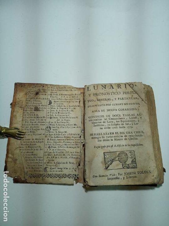 Libros antiguos: Lunario y pronóstico perpetuo, general y particular. Gerónymo Cortés. Grabados. Siglo XVIII. - Foto 4 - 193704207