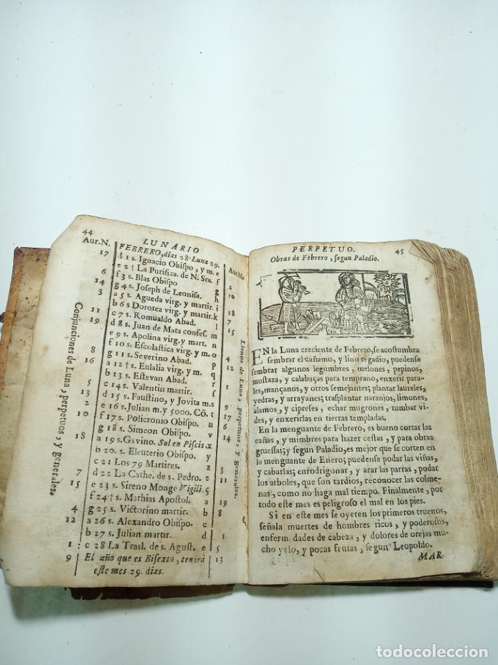 Libros antiguos: Lunario y pronóstico perpetuo, general y particular. Gerónymo Cortés. Grabados. Siglo XVIII. - Foto 8 - 193704207