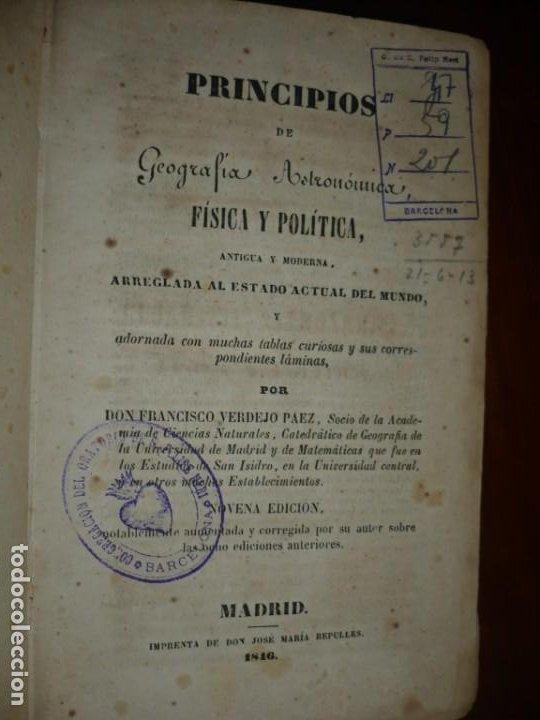 Libros antiguos: PRINCIPIOS DE GEOGRAFIA ASTRONOMICA FISICA Y POLITICA FRANCISCO VERDEJO PAEZ 1846 MADRID - Foto 2 - 194640992