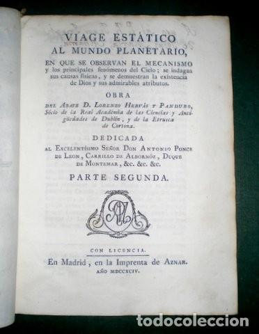 HERVAS Y PANDURO, LORENZO: VIAGE ESTATICO AL MUNDO PLANETARIO. T. III, PARTE 2ª. 1794 (Libros Antiguos, Raros y Curiosos - Ciencias, Manuales y Oficios - Astronomía)