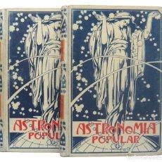 Libros antiguos: 1901 ASTRONOMÍA POPULAR. COMPLETA, 2 TOMOS ILUSTRADOS +400 GRABADOS! CIENCIAS, PERGAMINO MODERNISTA. Lote 205237848