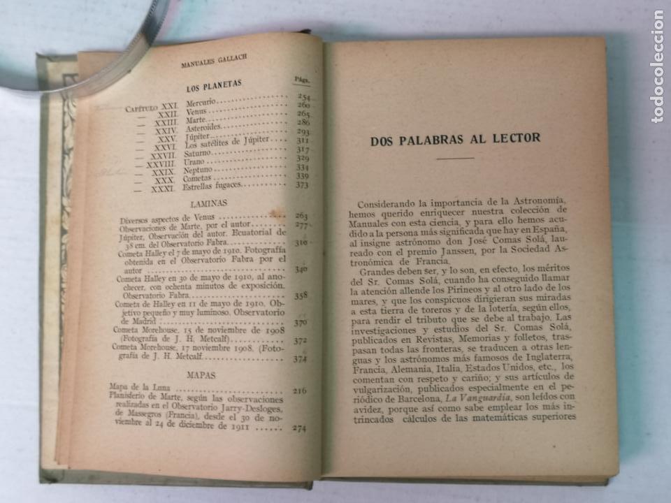 Libros antiguos: ASTRONOMÍA JOSÉ COMAS SOLA MANUALES GALLACH - Foto 5 - 206312501