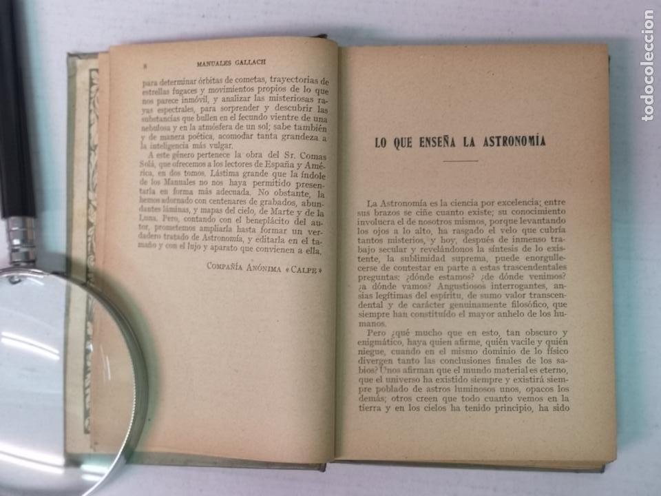 Libros antiguos: ASTRONOMÍA JOSÉ COMAS SOLA MANUALES GALLACH - Foto 6 - 206312501