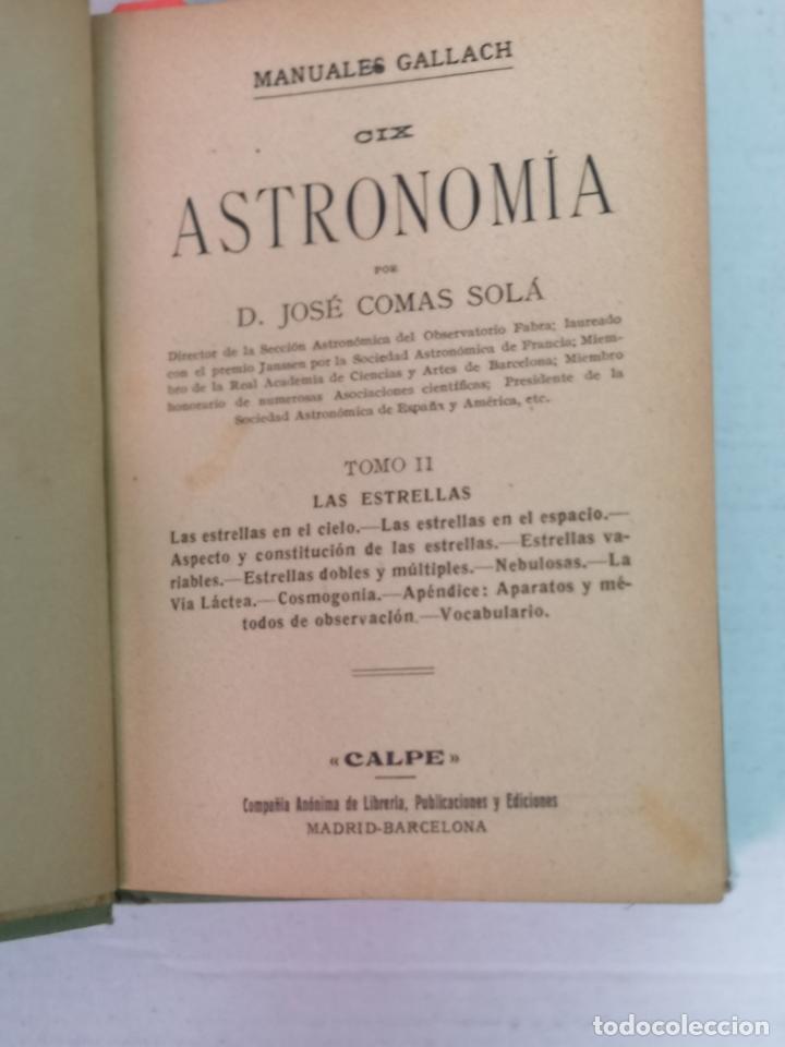Libros antiguos: ASTRONOMÍA JOSÉ COMAS SOLA MANUALES GALLACH - Foto 11 - 206312501