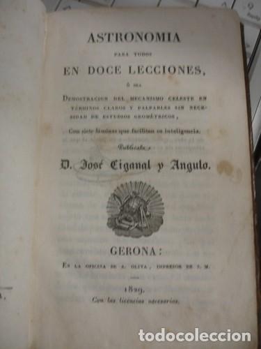 ASTRONOMIA PARA TODOS EN DOCE LECCIONES - OLIVA IMPRESOR 1829 GERONA (Libros Antiguos, Raros y Curiosos - Ciencias, Manuales y Oficios - Astronomía)