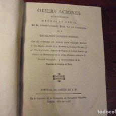 Libros antiguos: TOFIÑO - VARELA. MARINA.OBSERVACIONES ASTRONÓMICAS EN CADIZ. 1776. Lote 206480800