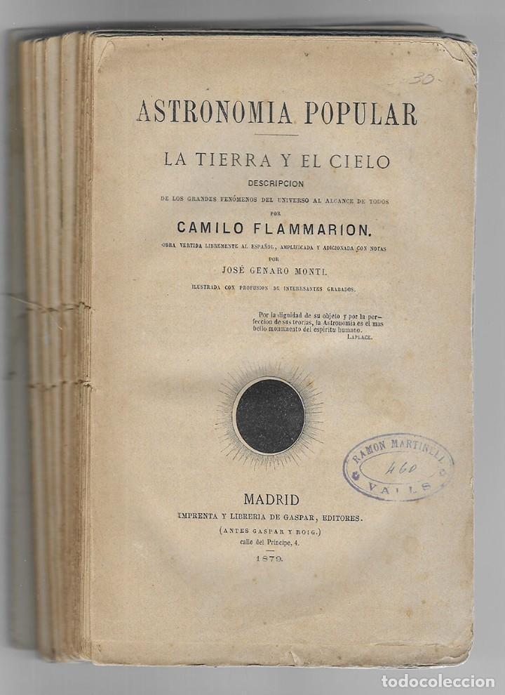 Libros antiguos: Astronomia Popular. La Tierra y el Cielo. 1879. Flammarion, Camilo. - Foto 3 - 206809213