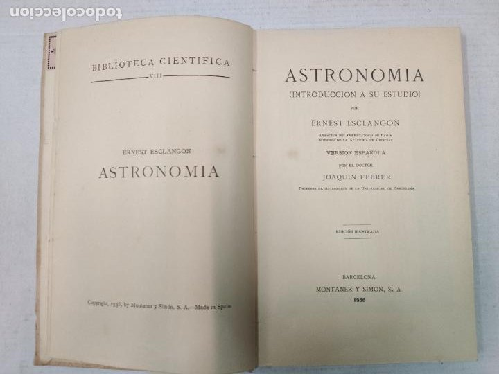 Libros antiguos: ASTRONOMIA - E. ESCLANGON - Barcelona, 1936 - Foto 4 - 208896785
