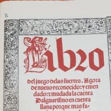 Libros antiguos: LIBRO DEL JUEGO DE LAS SUERTES.FACSIMIL.. Lote 211777037