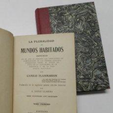 Livros antigos: LA PLURALIDAD DE MUNDOS HABITADOS - CAMILO FLAMMARION (2 TOMOS). Lote 214655445