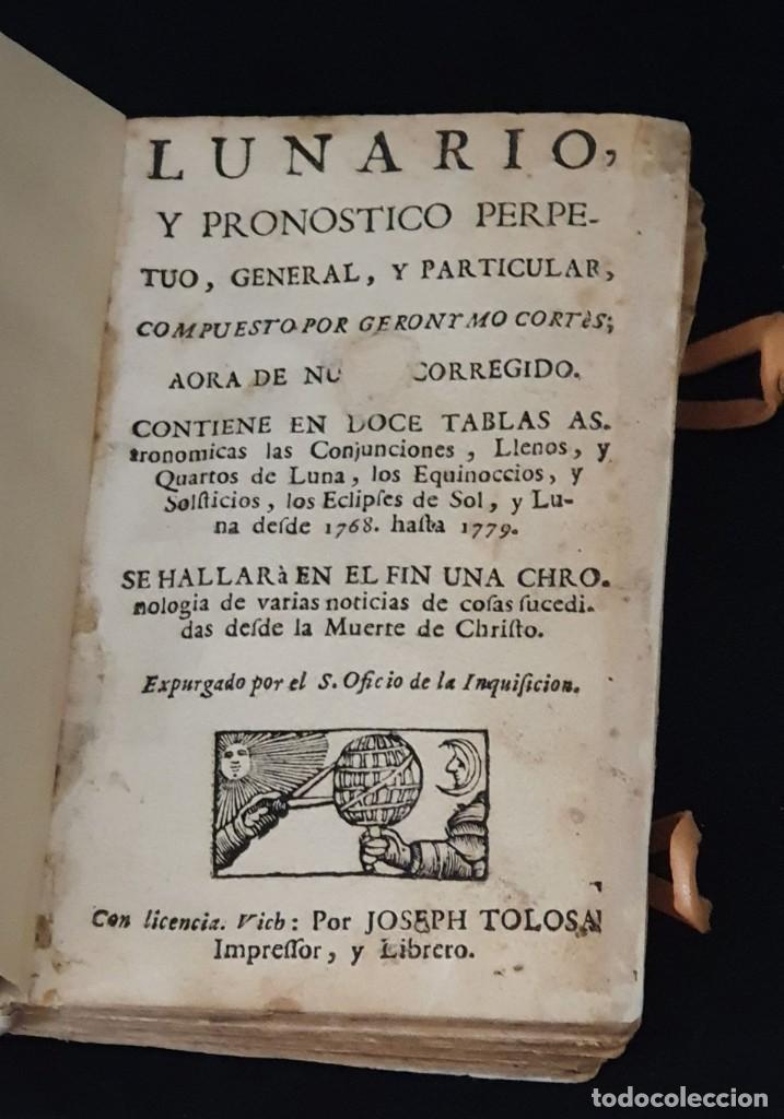 LUNARIO Y PRONOSTICO PERPETUO - 1768 - GERONIMO CORTÈS - GRABADOS - BUEN ESTADO. (Libros Antiguos, Raros y Curiosos - Ciencias, Manuales y Oficios - Astronomía)