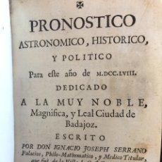 Livros antigos: PRONOSTICOS. PISCATOR. ALMANAQUE. VOLUMEN FACTICIO (S.XVIII). Lote 220672520