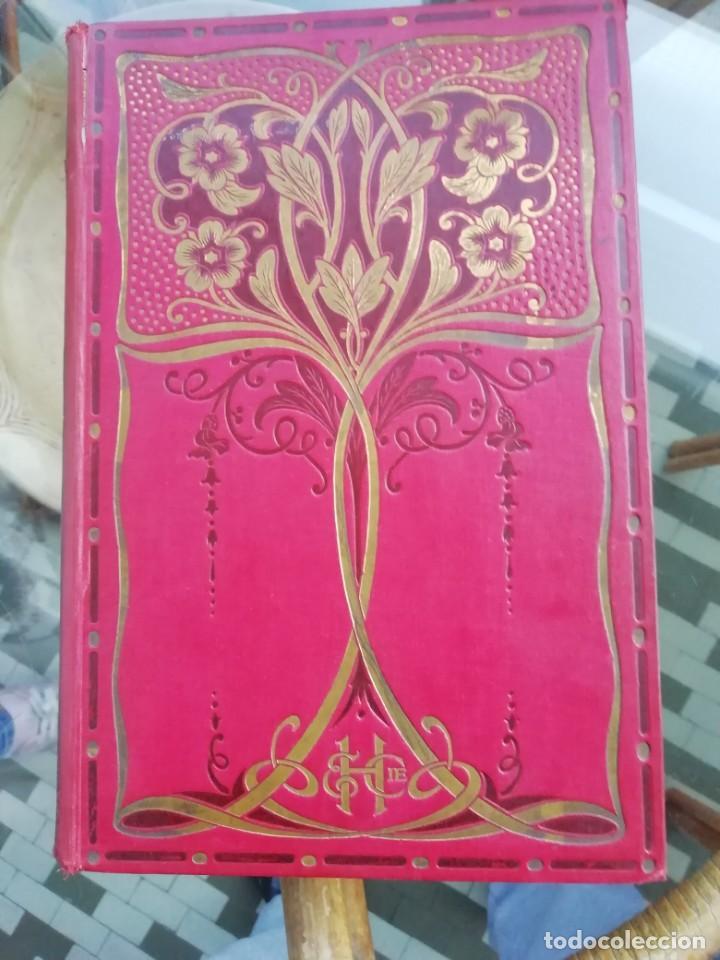 Libros antiguos: Les merveilles célestes ed. 1913 Tapas duras con profusa decoración dorada y malva. En francés - Foto 2 - 225233315