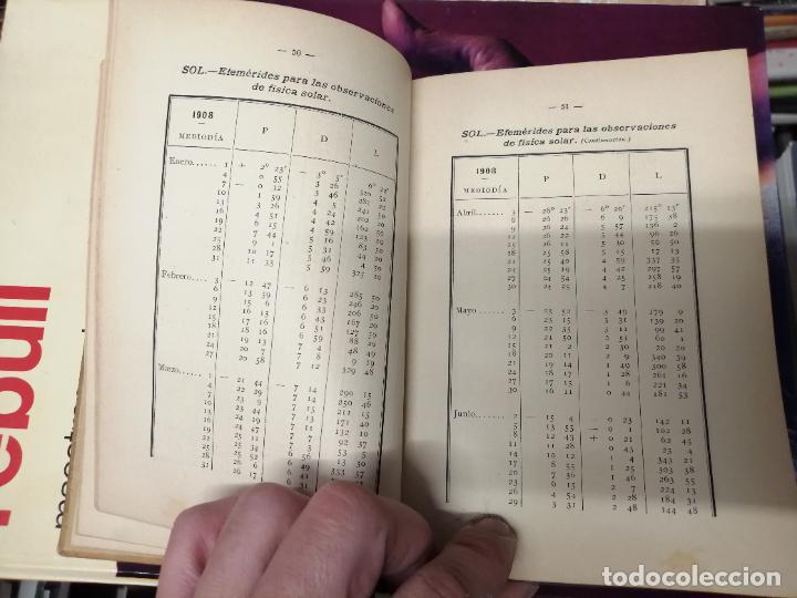 Libros antiguos: ANUARIO DEL OBSERVATORIO DE MADRID PARA 1908 . IMPRENTA DE BAILLY. 1907. PLANETAS, FENÓMENOS SOLARES - Foto 6 - 234411120