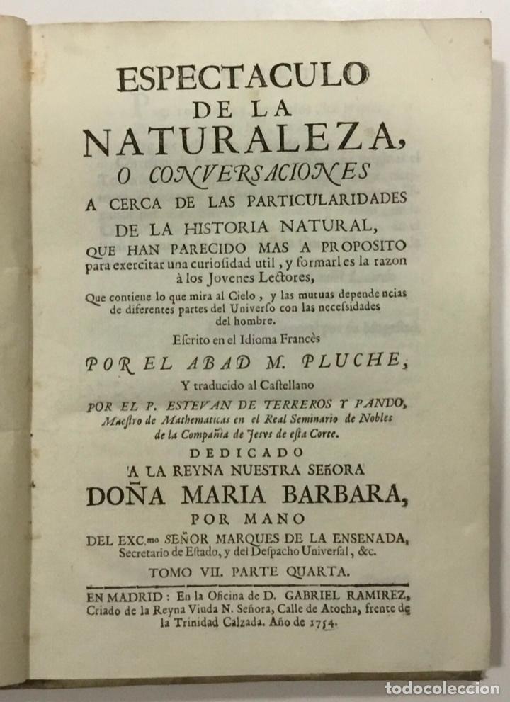 ESPECTACULO DE LA NATURALEZA TOMO VII. PARTE QUARTA 1754. ASTRONOMIA (Libros Antiguos, Raros y Curiosos - Ciencias, Manuales y Oficios - Astronomía)
