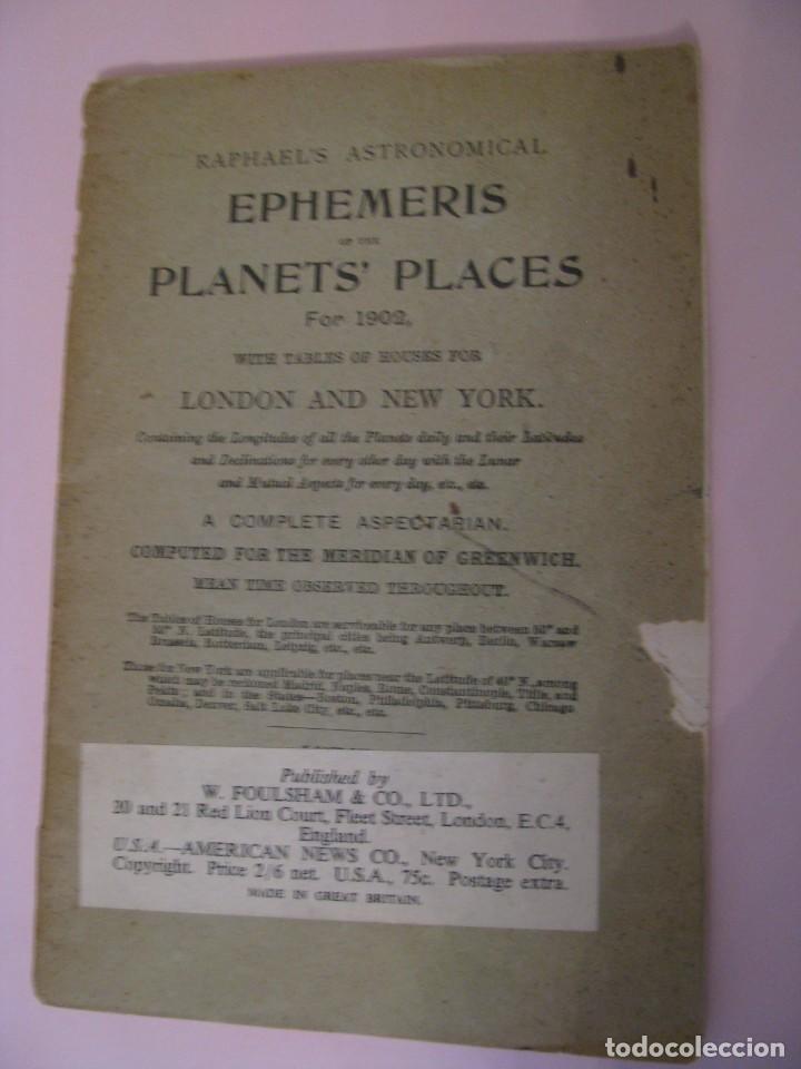 RAPHAEL'S ASTRONOMICAL EPHEMERIS PLANETS' PLACES FOR 1902, LONDON & NEW YORK. (Libros Antiguos, Raros y Curiosos - Ciencias, Manuales y Oficios - Astronomía)