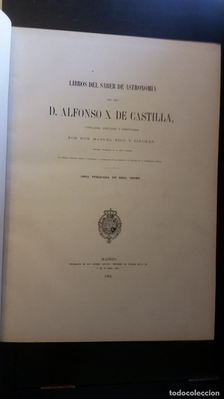 Libros antiguos: 1864 - Libros del saber de Astronomia del rey Alfonso X - Tomo III: Lámina Universal, Azafeha... - Foto 2 - 264815894