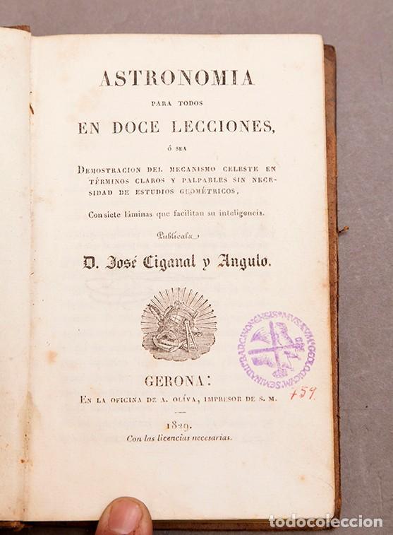 Libros antiguos: Astronomía para todos - Oliva Gerona - 1829 - José Ciganal y Angulo - Foto 5 - 267198984