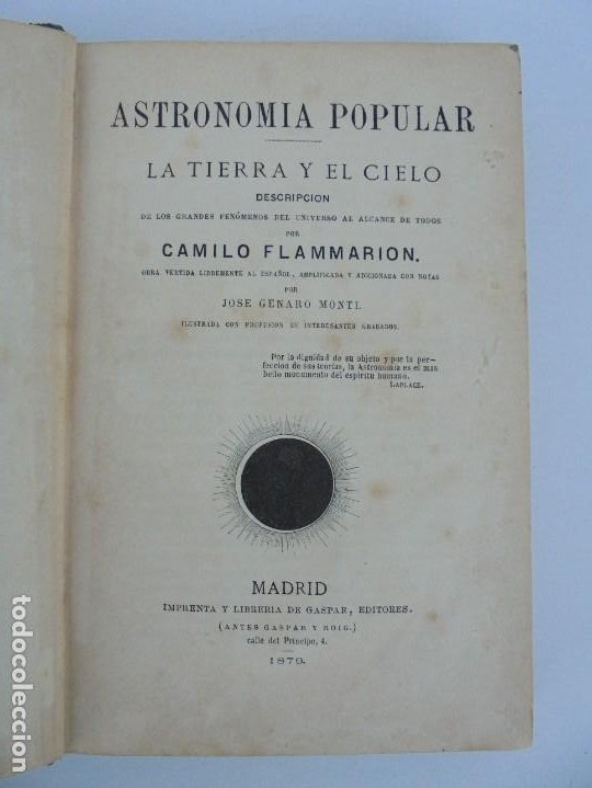 Libros antiguos: ASTRONOMIA POPULAR. LA TIERRA Y EL CIELO. CAMILO FLAMMARION. IMPRENTA Y LIBRERIA DE GASPAR 1879. - Foto 7 - 277513598