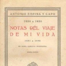 Libros antiguos: NOTAS DEL VIAJE DE MI VIDA (1850-1920) DEL DR. ANTONIO ESPINA Y CAPO. Lote 26524149