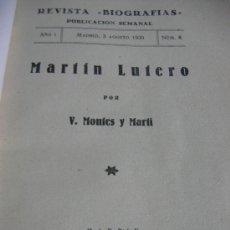 Libros antiguos: LUTERO BIOGRAFÍA. AÑO 1930.. Lote 27157530