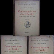 Libros antiguos: CONVERSACIONES CON GOETHE EN LOS ÚLTIMOS AÑOS DE SU VIDA. ECKERMANN, JUAN PEDRO. 1932. ESPASA-CALPE. Lote 21648998