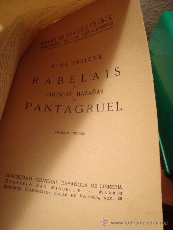 Libros antiguos: (277) VIDA INSIGNE DE RABELAIS Y CHUSCAS HAZAÑAS DE PANTAGRUEL - Foto 2 - 30675763