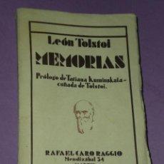 Libros antiguos: MEMORIAS DE LEÓN TOLSTOI (INFANCIA- ADOLESCENCIA - JUVENTUD) . Lote 31029402