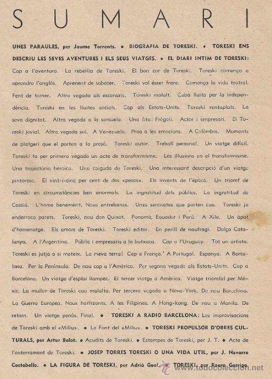 Libros antiguos: Una vida: Toreski. BCN : Pub. Microfon, juliol 1937. 27x21cm. 72 p. - Foto 2 - 31830073