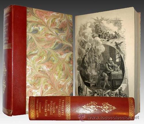 1876 - LUJOSO VOLUMEN DE LA VIDA DE CERVANTES - 2 TOMOS CON 22 LÁMINAS DE PLANAS (Libros Antiguos, Raros y Curiosos - Biografías )