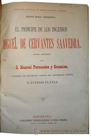 Libros antiguos: 1876 - LUJOSO VOLUMEN DE LA VIDA DE CERVANTES - 2 Tomos con 22 Láminas de PLANAS - Foto 4 - 32620963