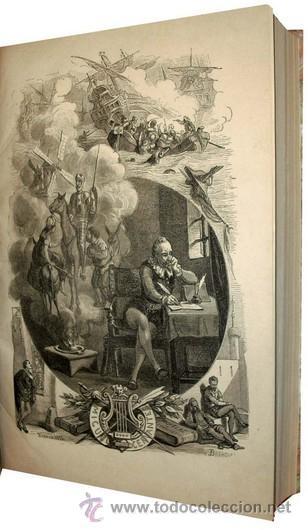 Libros antiguos: 1876 - LUJOSO VOLUMEN DE LA VIDA DE CERVANTES - 2 Tomos con 22 Láminas de PLANAS - Foto 9 - 32620963