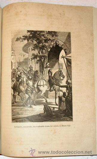 Libros antiguos: 1876 - LUJOSO VOLUMEN DE LA VIDA DE CERVANTES - 2 Tomos con 22 Láminas de PLANAS - Foto 7 - 32620963