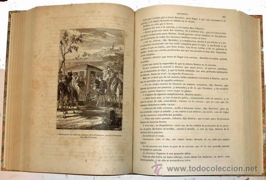Libros antiguos: 1876 - LUJOSO VOLUMEN DE LA VIDA DE CERVANTES - 2 Tomos con 22 Láminas de PLANAS - Foto 5 - 32620963
