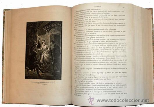 Libros antiguos: 1876 - LUJOSO VOLUMEN DE LA VIDA DE CERVANTES - 2 Tomos con 22 Láminas de PLANAS - Foto 6 - 32620963