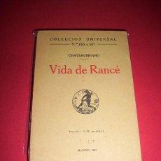 Libros antiguos: CHATEAUBRIAND - VIDA DE RANCÉ. Lote 34425020