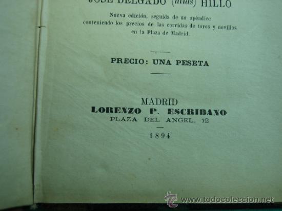 Libros antiguos: La Tauromaquia o Arte de Torear por Jose Delgado (alias) Hillo 1894 - Foto 3 - 34678745