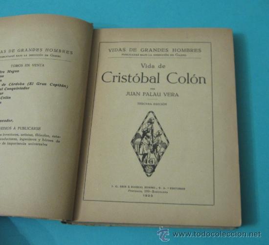 Libros antiguos: VIDA DE CRISTÓBAL COLÓN, JUAN PALAU VERA - Foto 2 - 35915147