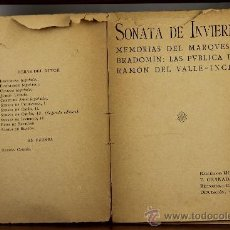 Libros antiguos: 3718- SONATA DE INVIERNO. RAMON DEL VALLE INCLAN. EDIT. F, GRANADA. 1907. . Lote 39051894