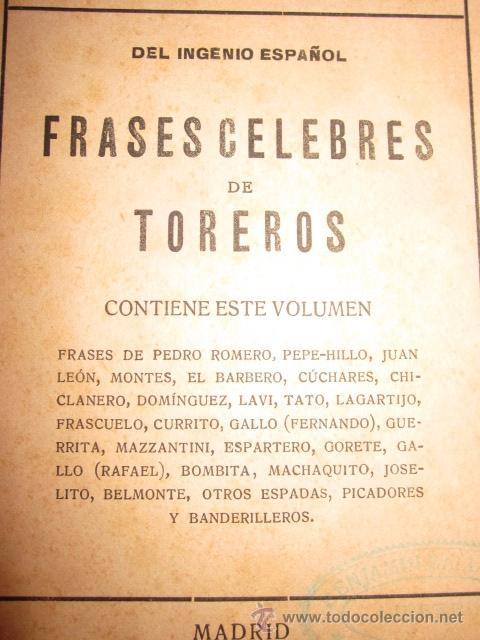 Libros antiguos: FRASES CELEBRES DE TOREROS DEL INGENIO ESPAÑOL TAUROMAQUIA ARTURO GARCIA CARRAFFA - Foto 3 - 195028001