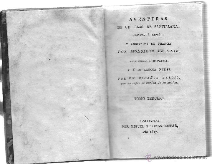 Libros antiguos: AVENTURAS DE GIL BLAS DE SANTILLANA - Foto 4 - 40175103