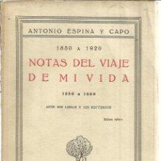 Libros antiguos: NOTAS DEL VIAJE DE MI VIDA. ANTONIO ESPINA Y CAPO. ANTE MIS LIBROS Y MIS RECUERDOS. T.CALPE.1926. Lote 41317914